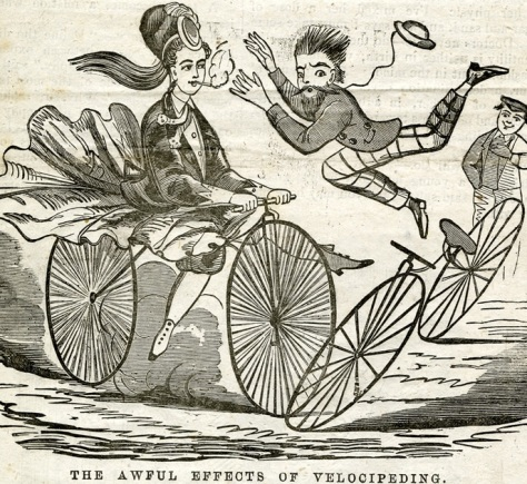 This is what men figured would happen if women rode bikes. Female cigarette smoking was controversial at the time as well. 189?, public domain.